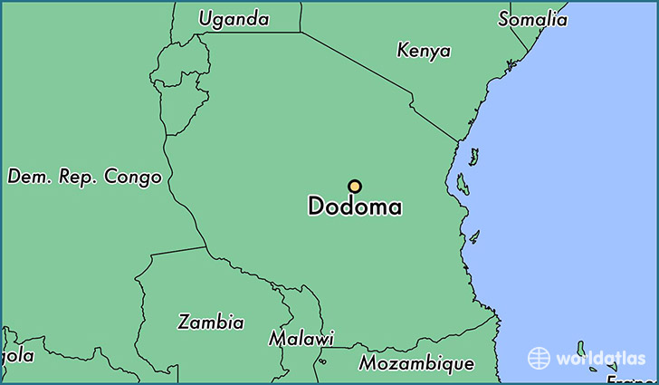 map showing the location of Dodoma