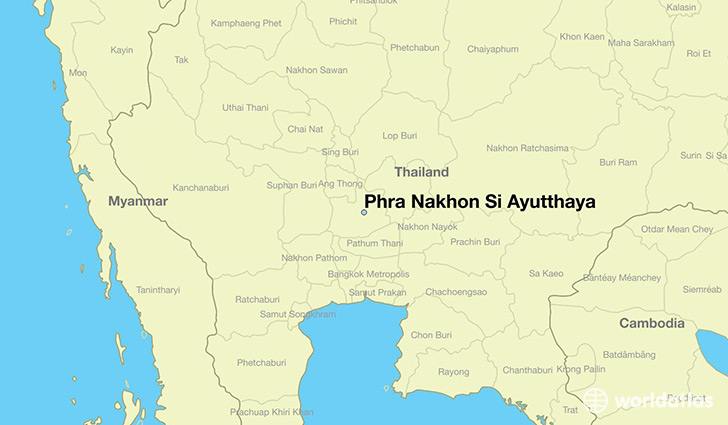 map showing the location of Phra Nakhon Si Ayutthaya