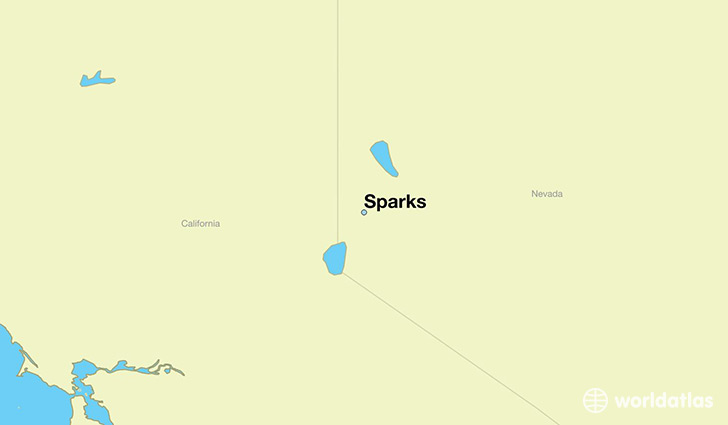 map showing the location of Sparks