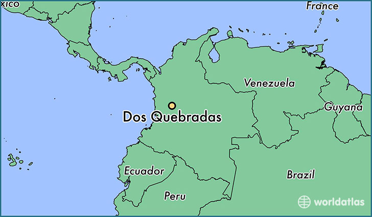 map showing the location of Dos Quebradas
