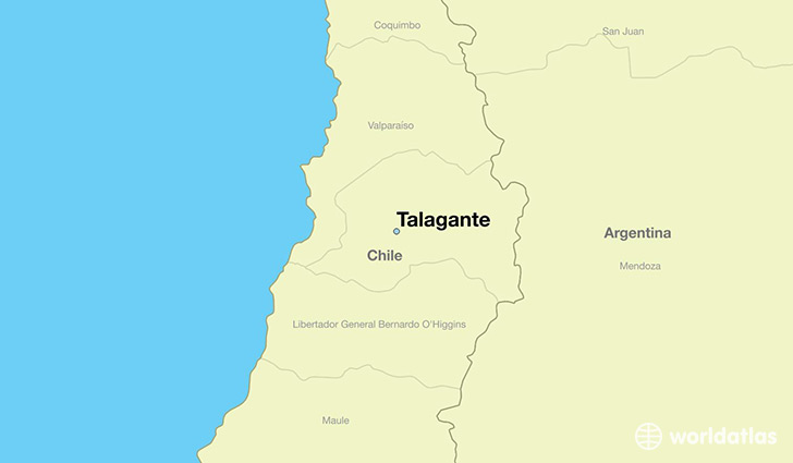 map showing the location of Talagante