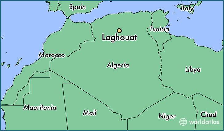 map showing the location of Laghouat