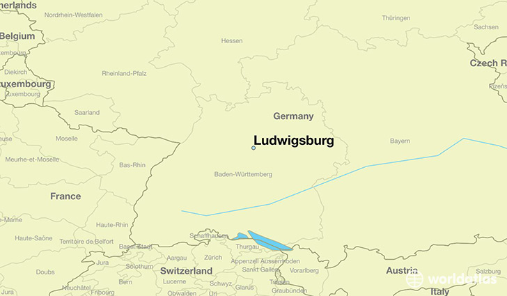 map showing the location of Ludwigsburg
