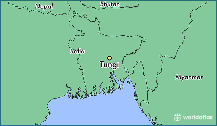 map showing the location of Tungi