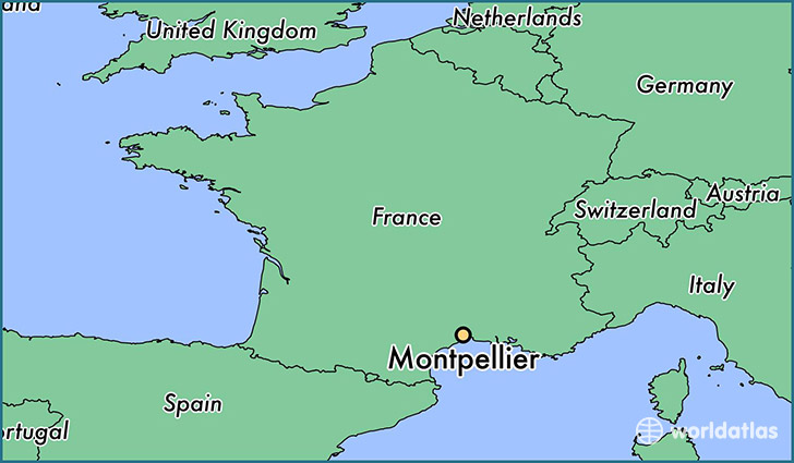 map showing the location of Montpellier