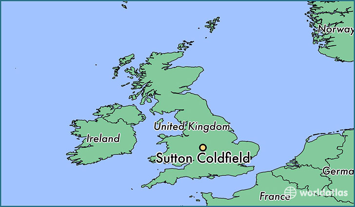 map showing the location of Sutton Coldfield