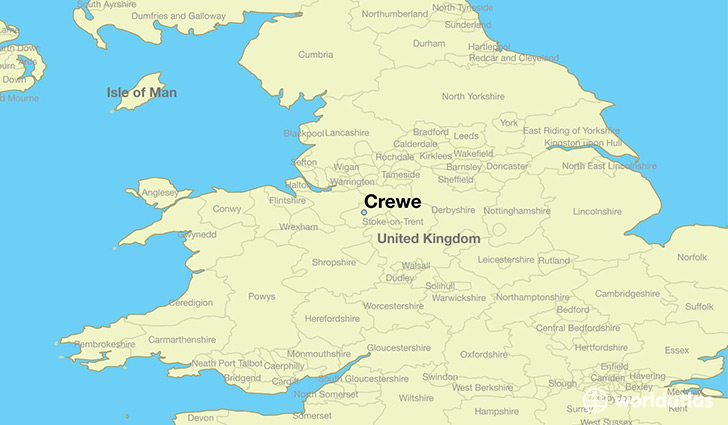map showing the location of Crewe