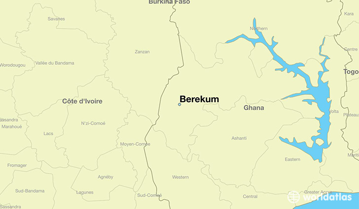 map showing the location of Berekum