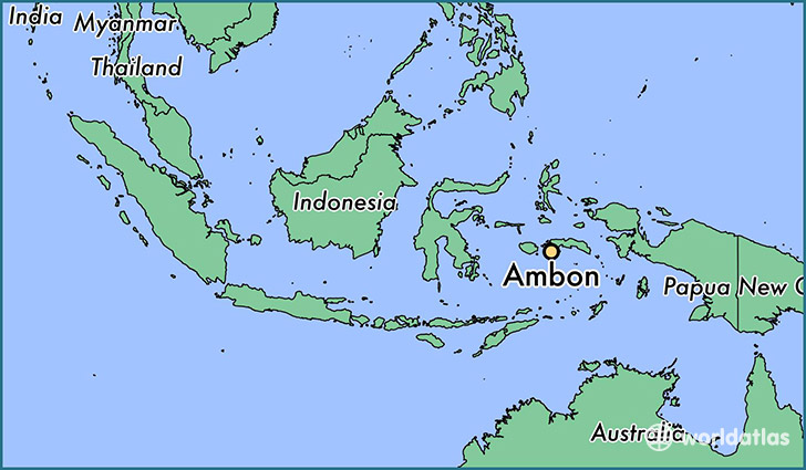 map showing the location of Ambon