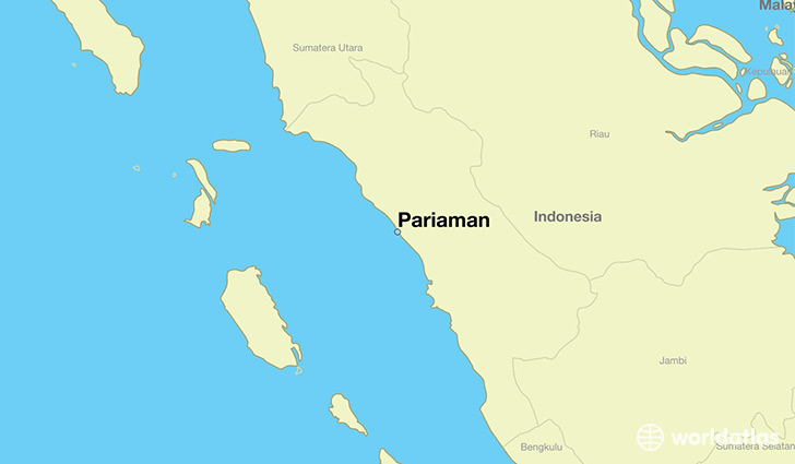 map showing the location of Pariaman