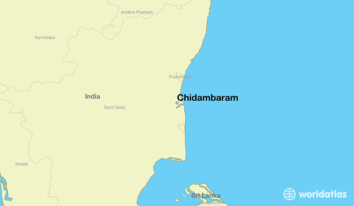map showing the location of Chidambaram