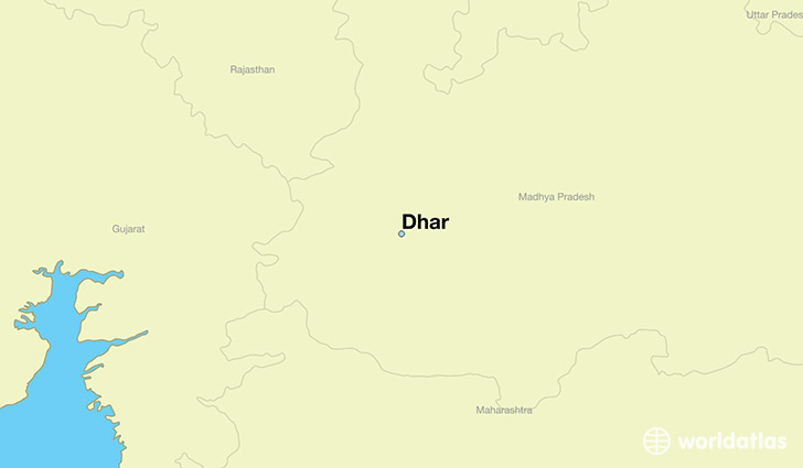 map showing the location of Dhar