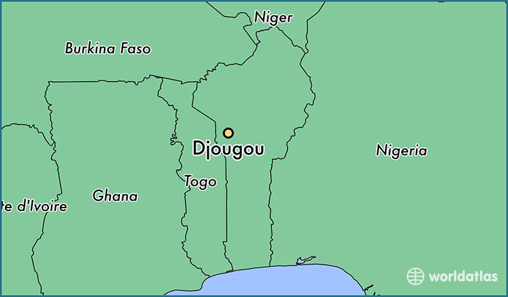 map showing the location of Djougou