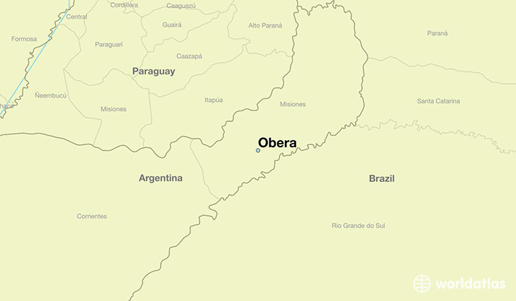 map showing the location of Obera