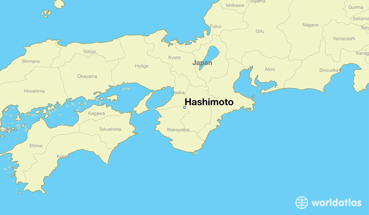 map showing the location of Hashimoto