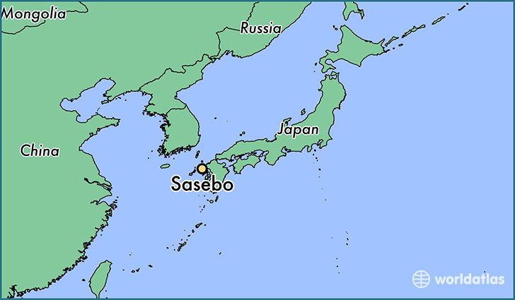 map showing the location of Sasebo