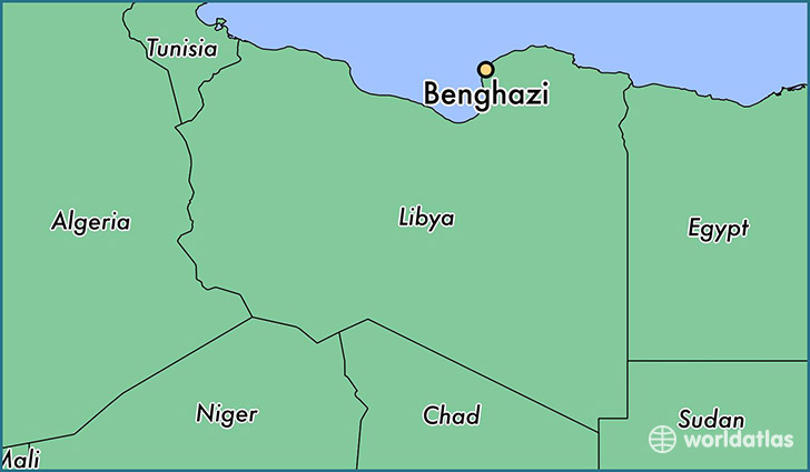 map showing the location of Benghazi