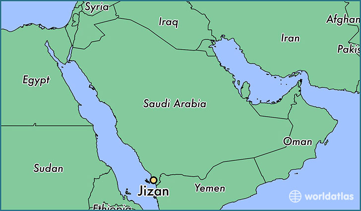 map showing the location of Jizan