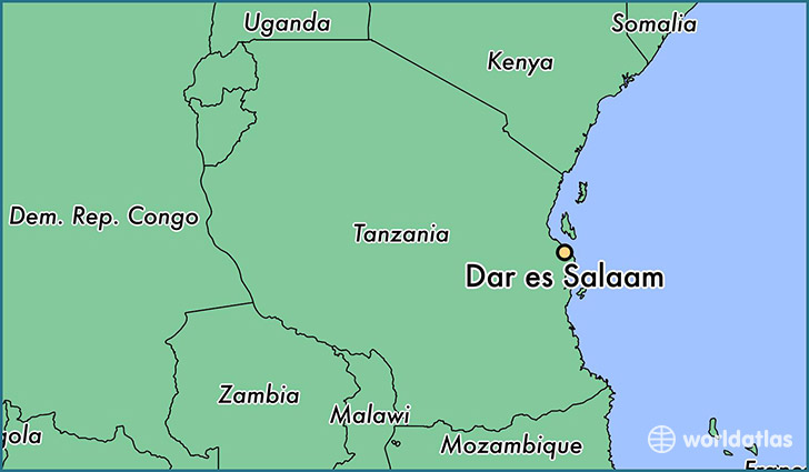 map showing the location of Dar es Salaam