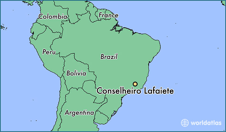 map showing the location of Conselheiro Lafaiete