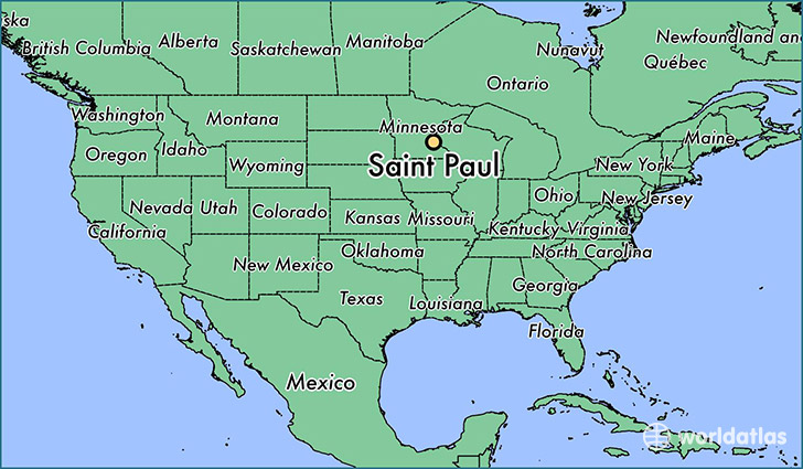 map showing the location of Saint Paul
