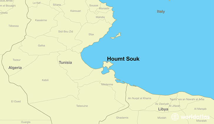 map showing the location of Houmt Souk