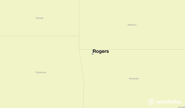 map showing the location of Rogers