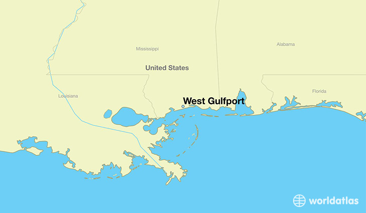 map showing the location of West Gulfport