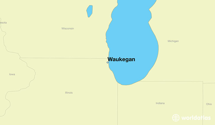 map showing the location of Waukegan