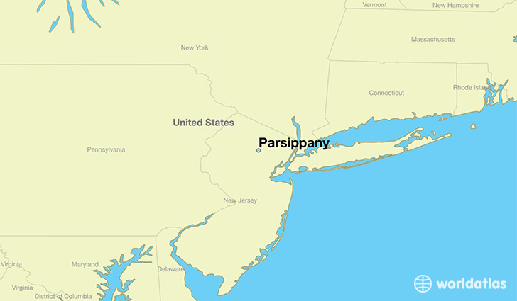 map showing the location of Parsippany