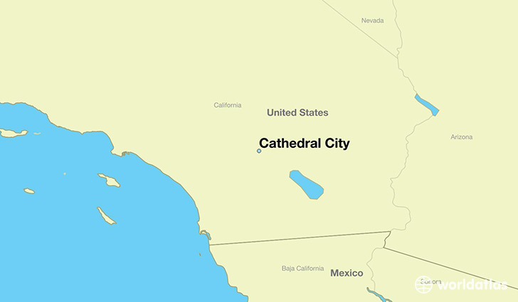 map showing the location of Cathedral City