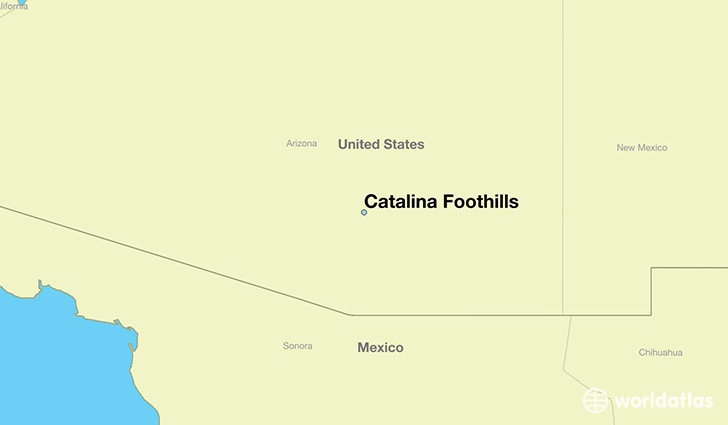 map showing the location of Catalina Foothills
