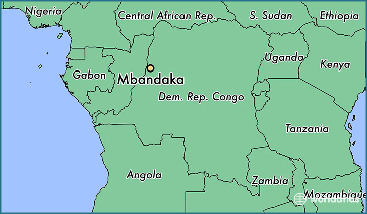 map showing the location of Mbandaka