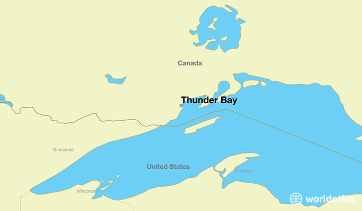 map showing the location of Thunder Bay
