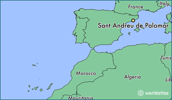 map showing the location of Sant Andreu de Palomar