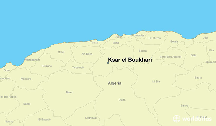 map showing the location of Ksar el Boukhari