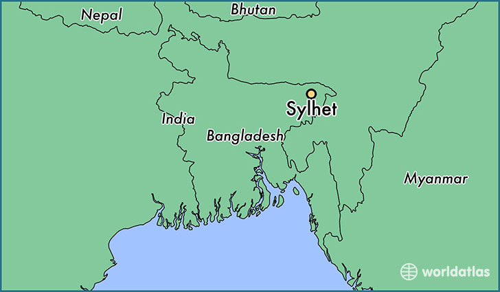 map showing the location of Sylhet