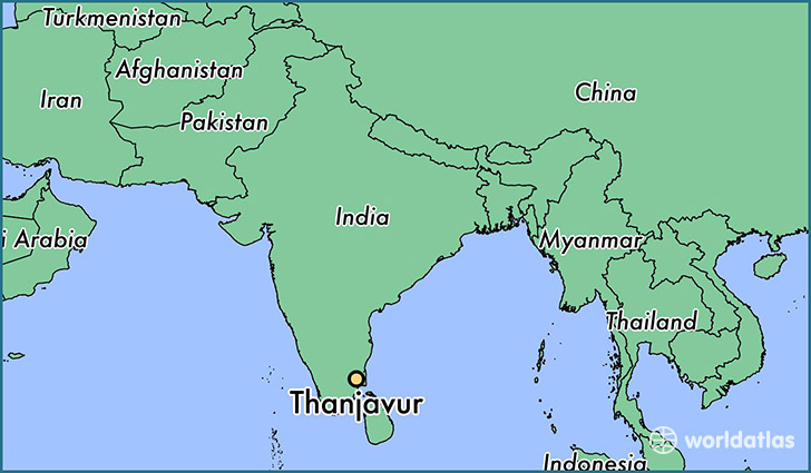 map showing the location of Thanjavur