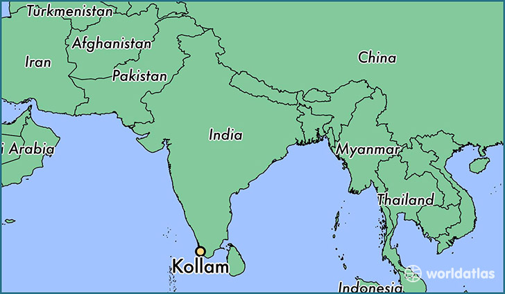 map showing the location of Kollam