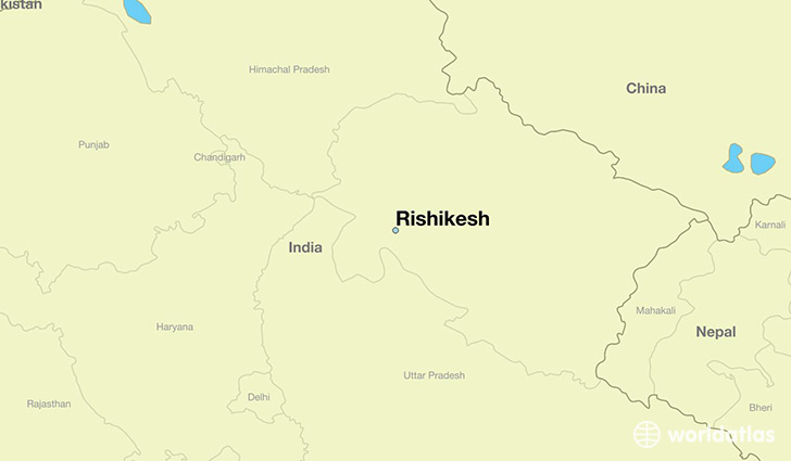 map showing the location of Rishikesh