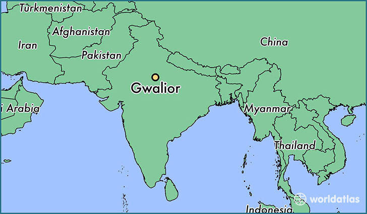 map showing the location of Gwalior