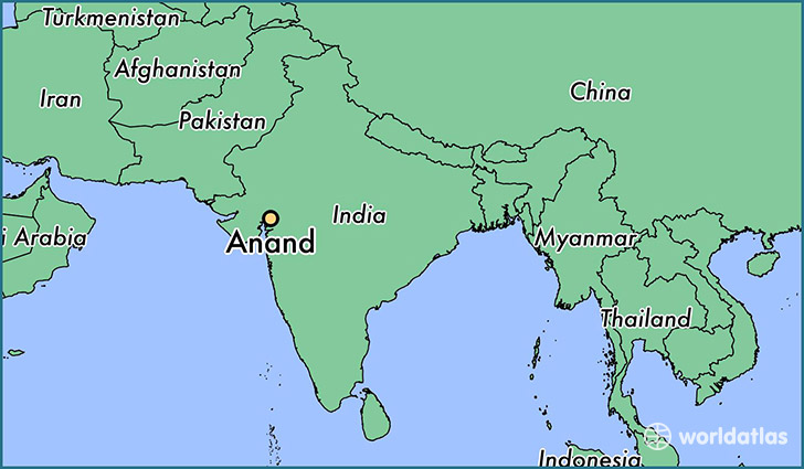 map showing the location of Anand