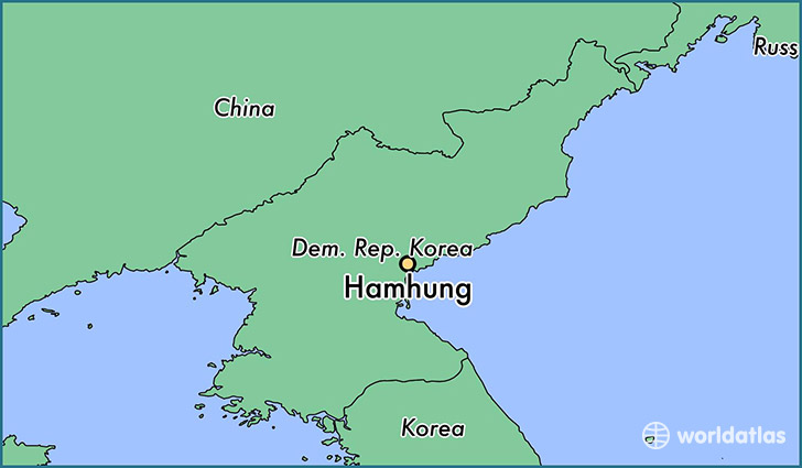map showing the location of Hamhung