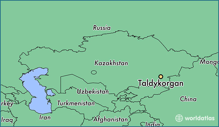 map showing the location of Taldykorgan