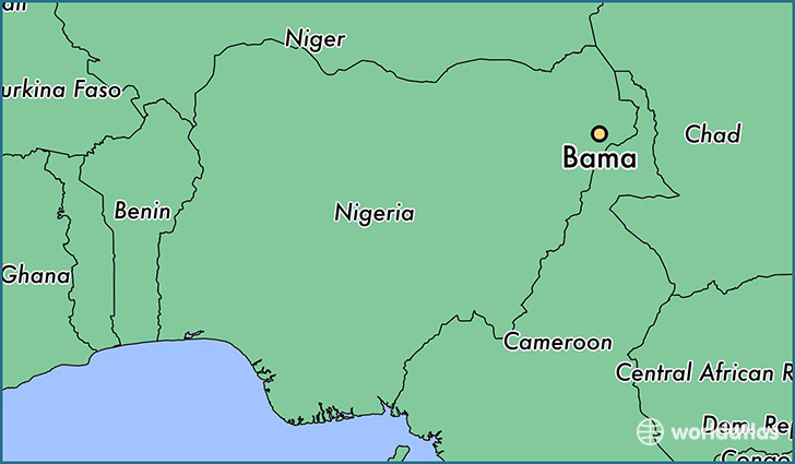 map showing the location of Bama