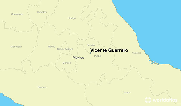 map showing the location of Vicente Guerrero
