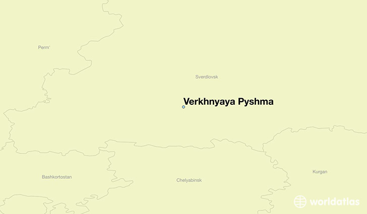 map showing the location of Verkhnyaya Pyshma