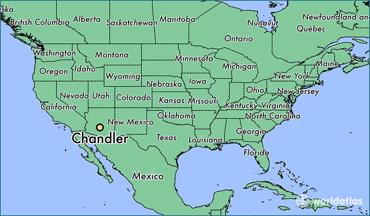 map showing the location of Chandler