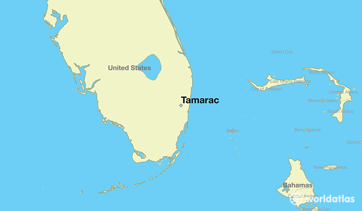 map showing the location of Tamarac