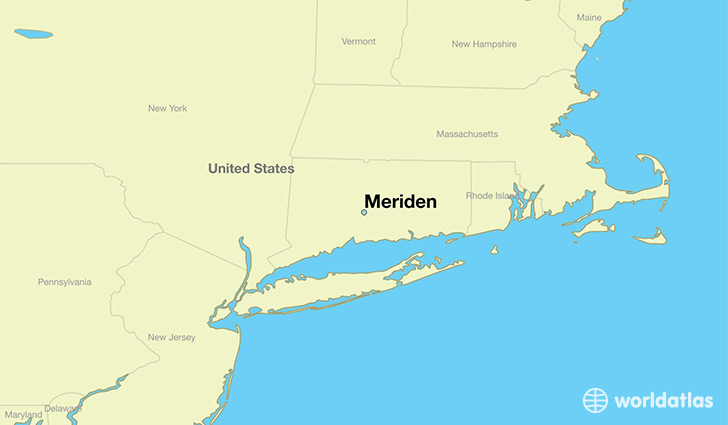 map showing the location of Meriden